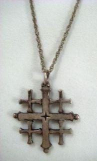 Vintage Sterling Silver James Avery Jerusalem Cross Pendant on Chain