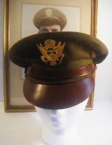Original ID'D WWII aac Pilot Crusher Visor Cap Hat Kia N Africa w Photo Nice