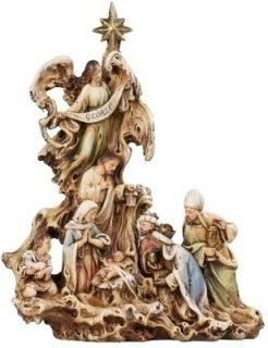 Joseph Studio s Wood Carved Look Nativity Scene with Angel Figurine Statue