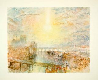 1965 Lithograph Cityscape Lyons France Bridge River Canal Street Joseph Turner