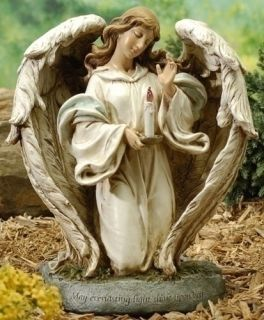 """12"""" Angel w Solar Candle Flame Outdoor Garden Statue"""