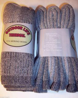 3 Pairs Outdoor Life 71 Soft Smart Merino Wool Cushioned Heavy Duty Crew Socks