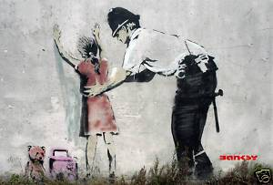 Banksy Police Stop and Search Girl Canvas Photo Print