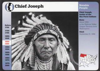 Chief Joseph Nez Perce Indians History Biography Grolier Story of America Card