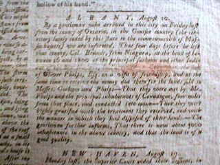 1789 Broadside Newspaper Indian Chief Joseph Brant Six Nations American Indians