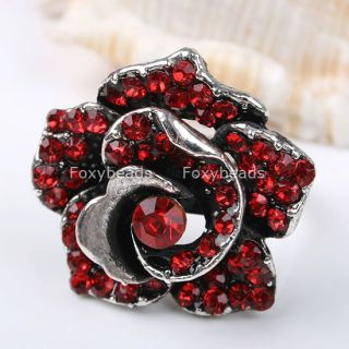 1pc Red Crystal Rose Flower Finger Ring Adjustable US 6