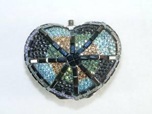 Vintage Judith Leiber Crystal Art Deco Heart Pill Box Case Missing Crystals RARE