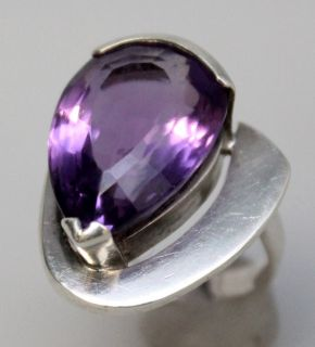 L57 HANS STAHR STERLING SILVER PEAR SHAPED 16CT AMETHYST MODERNIST RING SZ 7