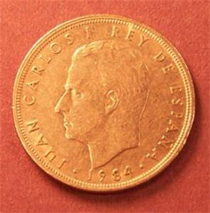 Spain 5 Pesetas Coin 1984 Juan Carlos I Coat of Arms Nickel VF EF