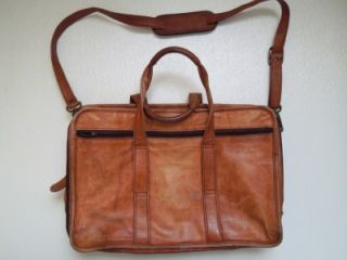 JOURDAN VTG Brown Leather Briefcase Many Compartments