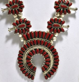 Navajo Coral Squash Blossom Sterling Necklace Earrings Set Lisa Williams