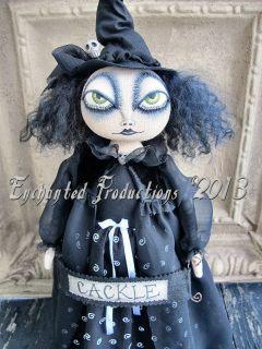 Ehag Primitive Folk Art Halloween Black Witch Wiccan Doll Joyce Stahl Pfatt