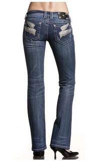 Miss Me JP5163T7 Wing Pocket Rhinestones Lowrise Stretch Straight Leg Jeans