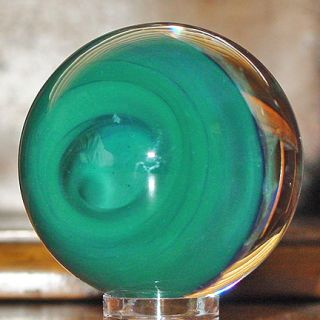 Signed Josh Mazet Iridescent Green Skull Glass Marble