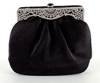 Judith Leiber Black Satin Evening Bag Pave Rhinstone Silver Filagree Deco Frame
