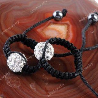 Polymer Clay Crystal Round Ball Bead Handmade Woven Finger Ring Hematite Macrame