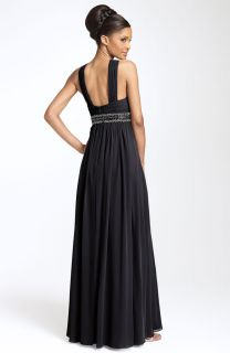 JS Boutique Cutaway Shoulder Beaded Chiffon Gown 4 168 00