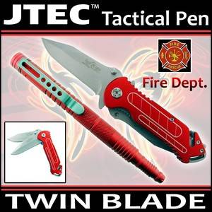 """2pc Set 6"""" Jtec Aluminum Tactical Pen w 8"""" Spring Assisted Twin Blade Knife"""