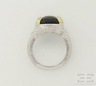 Judith Ripka Sterling Silver 18K Yellow Gold Onyx Diamond Ring Size 7