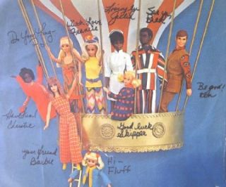 Vintage 1964 Barbie Friends Family Hot Air Balloon Poster