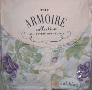 NIP Shabby Lavender Roses Chic Julia Cal King Bed Skirt