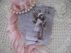 Joyeux Noel Winter Pink Girl Gift Cards Hang Tags