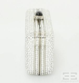 Judith Leiber Silver Swarovski Crystal Embellished Minaudiere Box Clutch Bag