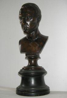 Julius Caesar Antique Bronze Bust Death Mask Sculpture Art Figure