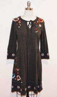 JWLA Johnny Was Charcoal Cotton Sharon Long Sleeve Dress M