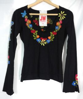 JWLA Johnny Was Los Angeles  XS  Womens EMBROIDERED PEACE SHIRT TOP Sz