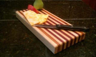 Cutting Board 1 1 4  Thick 11 3 8 x 5 1 8 Maple Canary Purple Heart