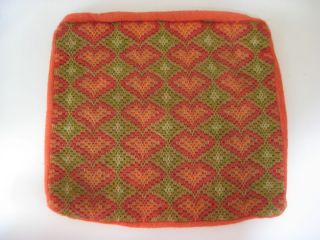 Vtg 70s Needlepoint Bargello Crewel Org Green Flamestitch Pillow Cover
