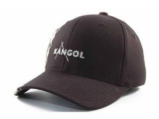 KANGOL Argyle Stripe Flex Fit Hat Cap New RARE s M Black Grey