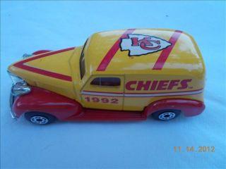 Kansas City Chiefs NFL 1992 Matchbox Diecast Metal 1939 Chevy Sedan