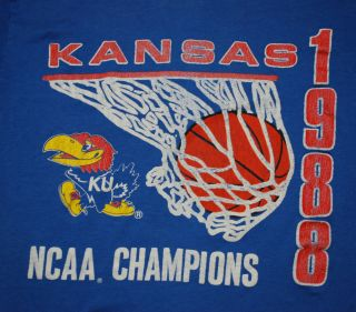 Vintage KU Kansas Jayhawks NCAA Champions Shirt 1988 M