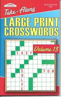 Kappa Take Along Large Print Crosswords Fun Puzzle Book Volume 13 New