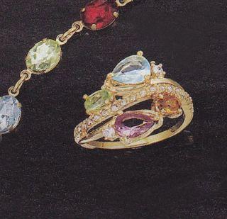 Avon Kasia Multicolor Rhinestone Ring Size 8 Goldtone