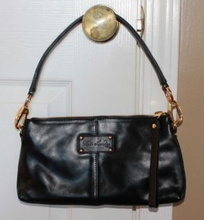 New Kate Landry Black Leather Pony Hair Satchel Bag $100