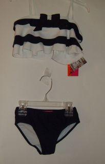Kate Mack Blue White 2 PC Swim Suit Size 2T New