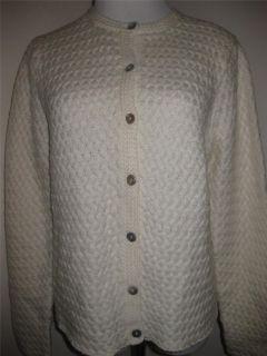 Karen Scott Button Down Cardigan Sweater Long Sleeve Ivory Size Sz L