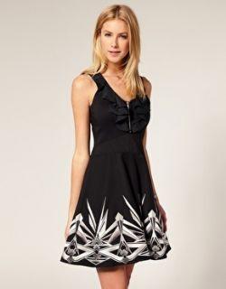 Karen Millen Black Graphic Tribal Embroidered Block Dress 8 36 £190