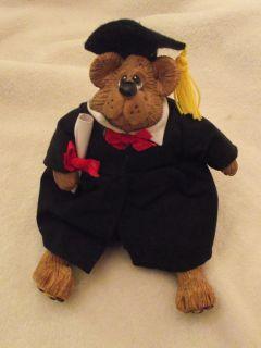 Graduation Bear RUSS BERRIE Kathleen Kelly Critter Factory Resin Plush