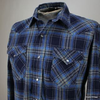 KARMAN Western Pearl Snap Shirt MEDIUM Vtg Flannel Plaid Check Mens