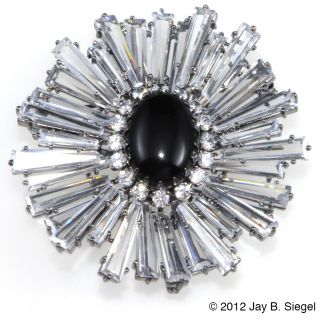 Jarin Kasi Sterling Silver Rhinestone Ruffle Brooch Pin Like Vintage