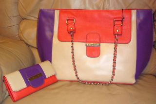 Kate Landry Sofia Colorfly Colorblock Leather Chain Handbag Bag Wallet