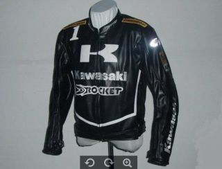 Kawasaki Motorcycle Jacket Bikers Racing Jacket PU Leather Blacks M