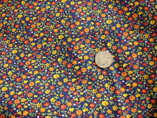 Vintage Cotton Fabric Tiny Calico Floral on Navy Blue