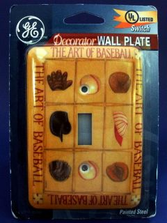 Wall Single Light Switch Steel Plate Cover GE Baseball Art New Free