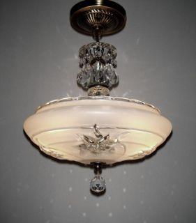 VINTAGE ART DECO FLORAL SHADE CEILING LAMP LIGHT FIXTURE ANTIQUE