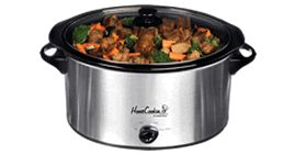 QUART STAINLESS STEEL SLOW COOKER / CROCK POT, GLASS LID, REMOVABLE